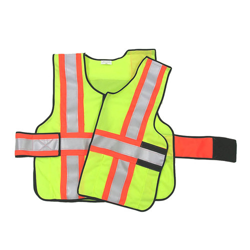 343 Fire V12-E Economy High Contrast FR 5-Point Break-Away Vests, Safety Yellow w/Orange & Silver Striping