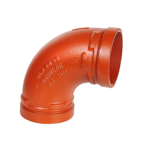 Anvil FIG 7050 Gruvlok® Ductile Iron 8 in. 90° Elbow Grooved-End Fitting, Ptd. Orange