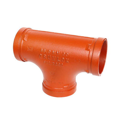 Anvil FIG 7060 Gruvlok® 1 in. Grooved Tee Fitting, Ductile Iron Ptd. Orange