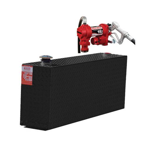 38 Gallon DOT Powder Coated Aluminum Rectangular Transfer Tank w/ Fill-Rite FR1210 Pump