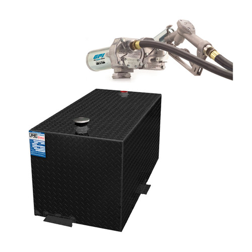 110 Gallon DOT Powder Coated Aluminum Rectangular Transfer Tank w/ GPI 150SEM Pump