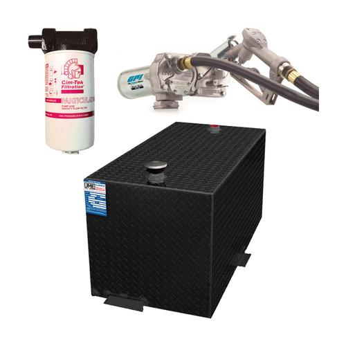 110 Gallon DOT Powder Coated Aluminum Rectangular Transfer Tank w/ GPI 12V DC Pump 15 GPM & FREE Filter Kit