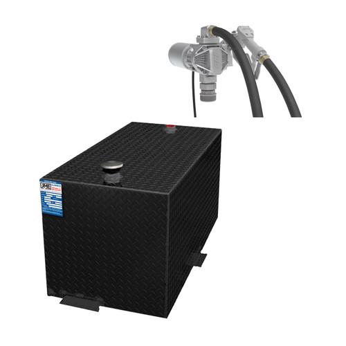 110 Gallon DOT Powder Coated Aluminum Rectangular Transfer Tank w/ GPI G20MD 12V DC Pump