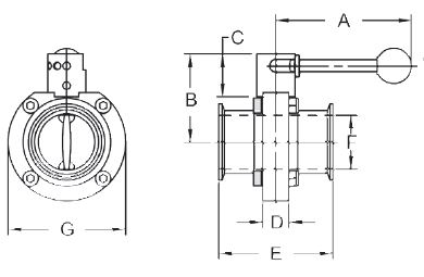 Dixon Sanitary B5101 Butterfly Valve 1-1//2 Weld Ends w//Silicone Seat /& Infinite Handle
