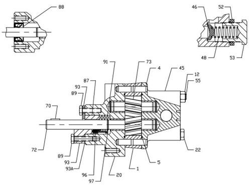 roper pumps a series pump replacement parts - size a005-a02 - idler shaft  u0026 gear - a01