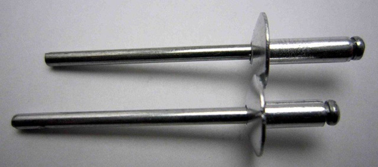"Aluminum, Rivet, Mandrel, Large Flange, #, 42, Blind, Domed, Button, Head, Open, End, 1/8"", .125"