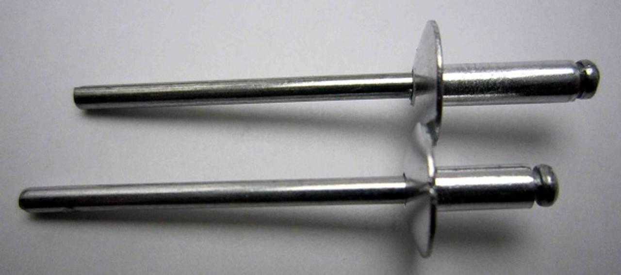 """Aluminum, Rivet, Mandrel, Large Flange, #, 42, Blind, Domed, Button, Head, Open, End, 1/8"""", .125"""