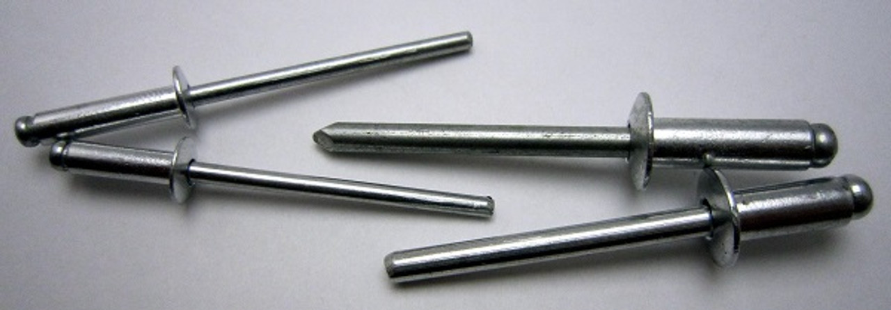 Aluminum, Rivet, Aluminum, Mandrel, #, 46, Blind, Domed, Button, Head, Open, End, Pop, 1/8, .125