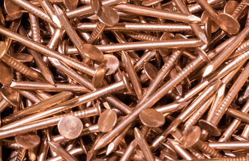"COPPER SLATING NAILS, SMOOTH SHANK, 1.25"", 10 GA, FREE SHIPPING, 50 LB. BOX"