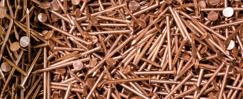 "COPPER SLATING NAILS, SMOOTH SHANK, 1.75"", 10 GA, FREE SHIPPING  50 LB. BOX"