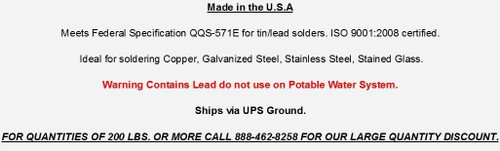 Capping Bar Solder 50/50 1/4 lb Free Shipping