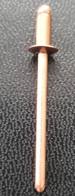 COPPER RIVET COPPER PLATED STEEL MANDREL OPEN END BLIND BUTTON HEAD RIVET #42