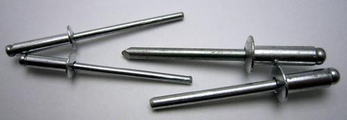 "Aluminum, Rivet, Mandrel, #, 44, Blind, Domed, Button, Head, Open, End, 1/8"", .125"