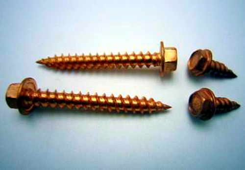 "8 X 1/2"" 1/4"" IHWH UNSLOTTED 18-8 STAINLESS STEEL-COPPER PLATED SCREW"
