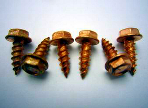 "8 x 1/2"" SOLID COPPER SELF PIERCING SHEET METAL SCREWS"