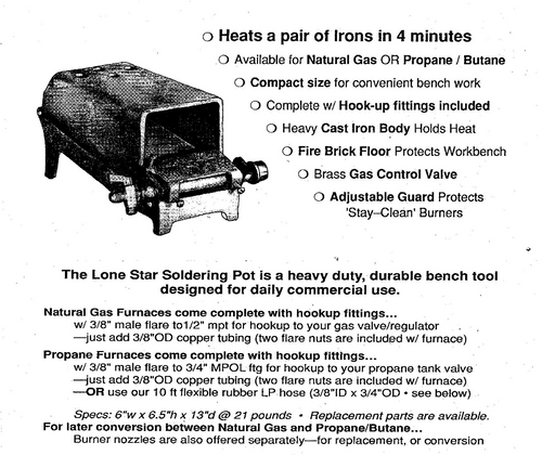Lone Star Bench Soldering Furnace LP Propane Gas Four Burner #SP-P