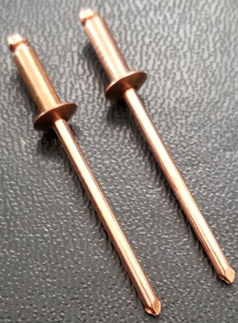 COPPER RIVET COPPER PLATED STEEL MANDREL BLIND BUTTON HEAD RIVET #44