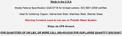 50/50  Meter Bar Solder 1/3 lb Free Shipping 25 LB Box