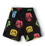 Nununu Resort Collection/ Colorful Black Rowdy Masks Voile Shorts