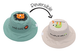 FlapJackKids Reversible Baby and Kids Sun Hat - Lion | Sloth