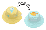 FlapJackKids Reversible Baby and Kids Sun Hat - Fish | Jellyfish