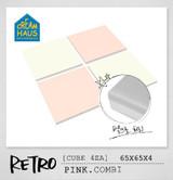 CREAMHAUS RETRO CUBE 65*65cm 4EA-PINK & CREAM WHITE COMBI