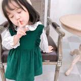 deerkids-calla-green velvet dress with white shirt