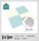 CREAMHAUS RETRO CUBE 65*65 4EA-BLUE & CREAM WHITE COMBI