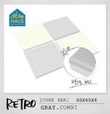 CREAMHAUS RETRO CUBE 65*65cm 4EA-GREY & CREAM WHITE COMBI