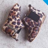 Babywalker Leopard Print Fur Fabric Chelsea Boots