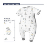 Domiamia-short sleeve double layer gauze sleep suit with ribbed side-Mr Hedgehog