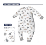 Domiamia-Long sleeve double layer gauze sleep suit with ribbed side-Space Rocket