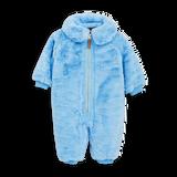 Mini Rodini Faux Fur Baby Overall Light Blue