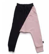 Nununu 1/2&1/2 Baggy Pants-Black& Power Pink