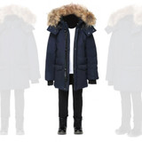 Mackage Unisex Down Parka With Fur Hood-Navy