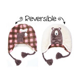 FlapJackKids Winter Hat Pink Moose/Brown Bear