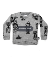 all over tribal dancers sweatshirt/ GREY