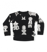 all over tribal dancers sweatshirt/ BLACK