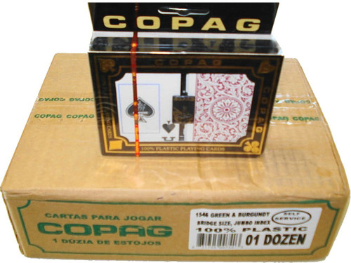 Copag 1546 Burg/Green Playing Cards -12 Sets - Sup. Index - Bridge