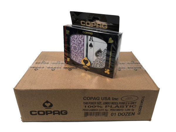 COPAG 1546 Purple & Gray Playing Cards- 12 Sets - Super Index - Poker