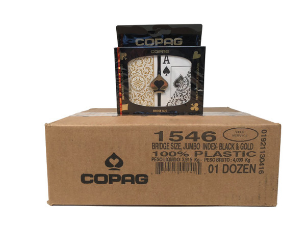 Copag 1546 Black & Gold Playing Cards -12 Sets - Sup. Index - Bridge