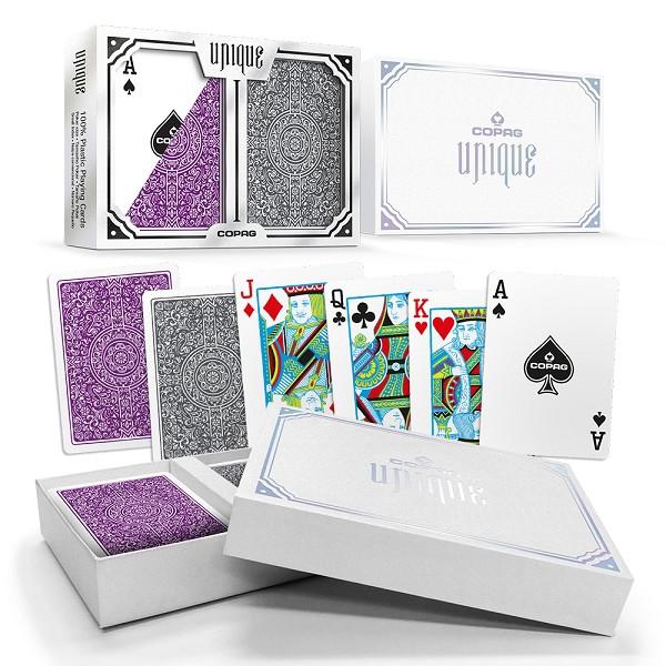 Copag Unique Plastic Playing Cards Poker Size Reg Index Purple/Grey Double-Deck Set