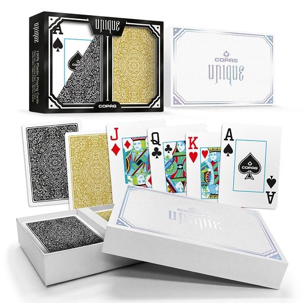 Copag Unique Plastic Playing Cards Poker Size Jumbo Index Gold/Black Double-Deck Set