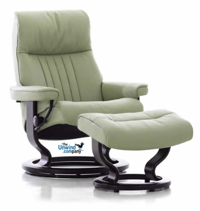 Large Stressless Crown Recliner And Ottoman By Ekornes Fast Shipping