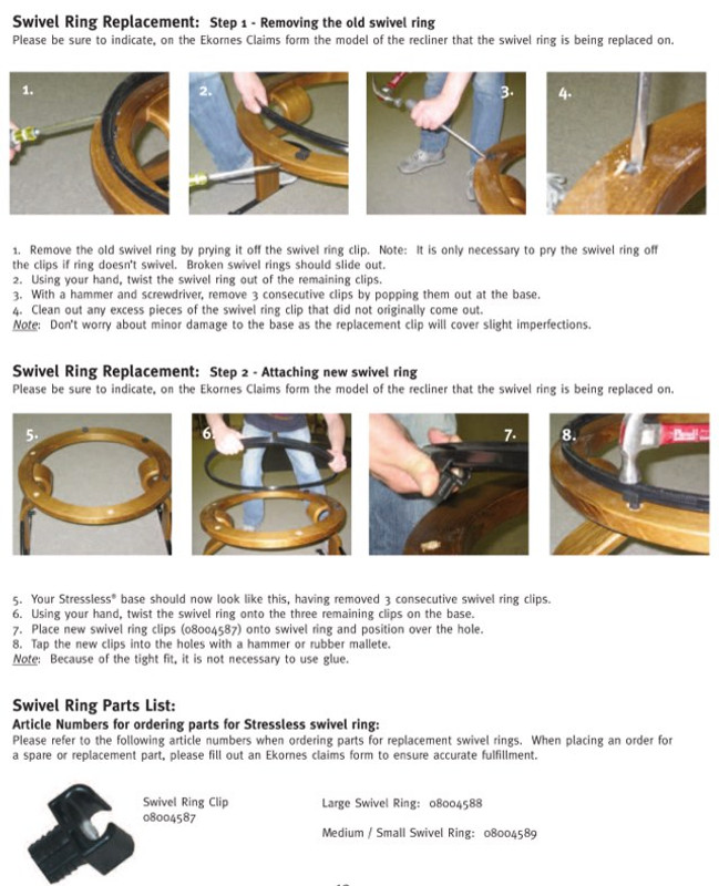 Pleasant Stressless Elevator Ring Attachment Kit With Swivel Clips Theyellowbook Wood Chair Design Ideas Theyellowbookinfo