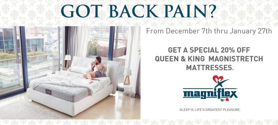 Got Back Pain? Save BIG on the MagniStretch Mattress from Magniflex of Italy