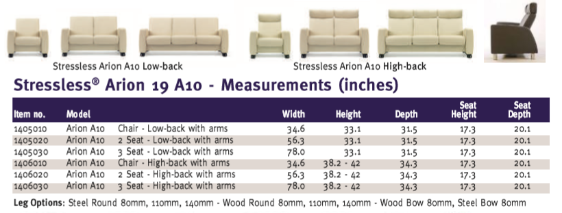 Arion A19 A10 Sofa Dimensions