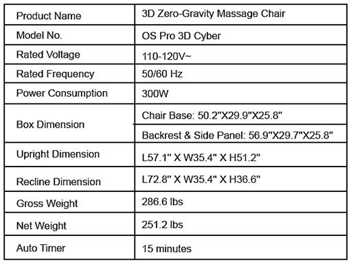 PRO Cyber Massage Chair by Osaki- Specs Sheet