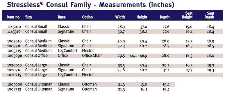 Stressless Consul Recliner Measurements and Dimensions