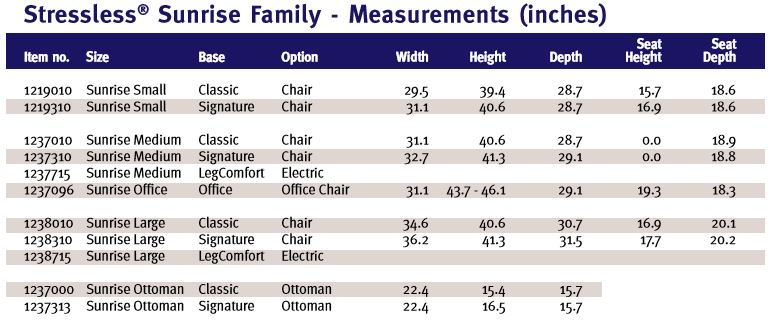 Stressless Sunrise Dimensions and Measurements